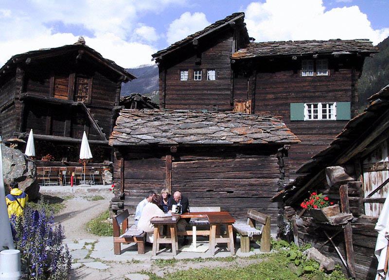 Mountain hamlet restaurant in Switzerland
