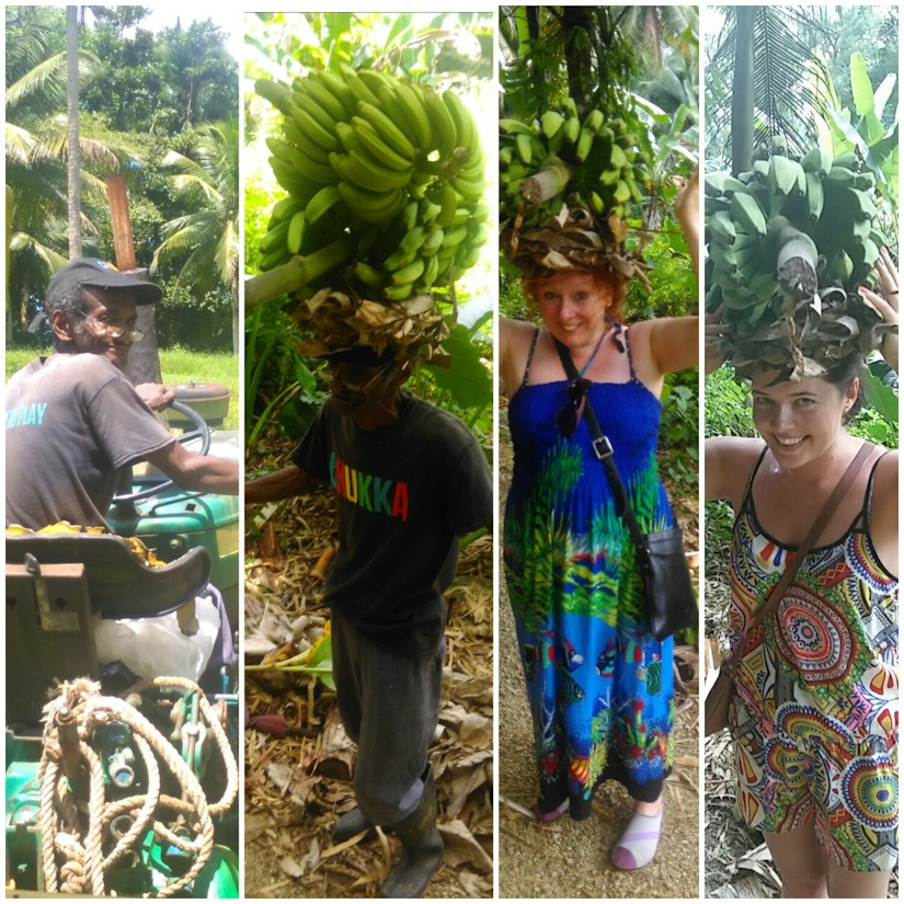 Emma's top 3 things to do in Montego Bay, - Learning to carry bananas on her head.