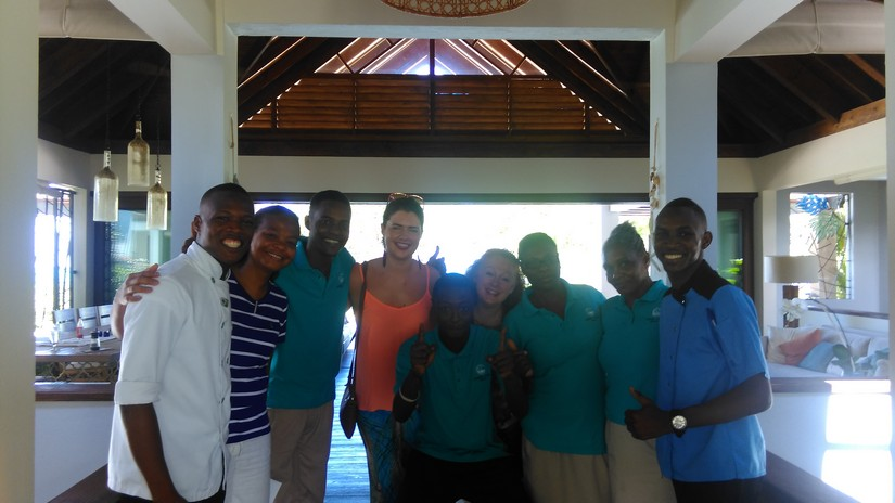 Emma and Noreen with the team at Canoe cove villa