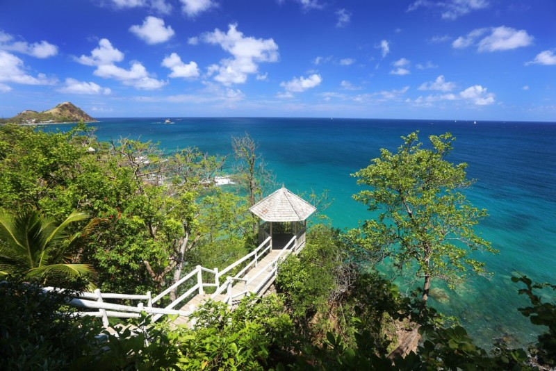 View of the Gazebo and expansive blue Caribbean Sea from Smuggler's Nest Villa in St Lucia
