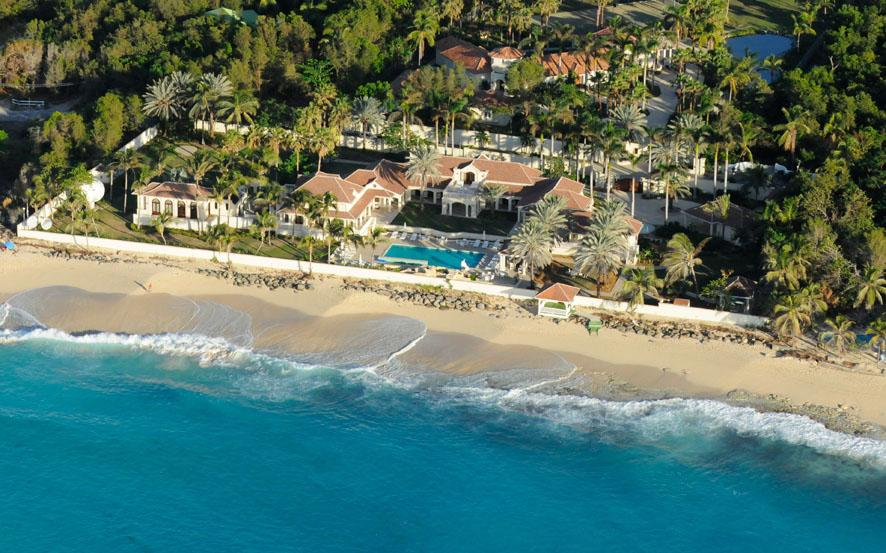 Aerial View of Donald trumps 9 bedroom  luxury St Martin villa rental