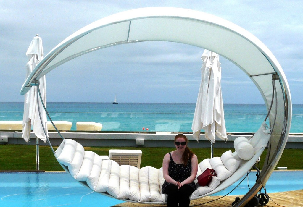 Niamh is dwarfed by the world's coolest and possibly it's largest hammock at C'est La Vie in St Martin