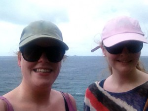 Linda and Niamh at Colombier Beach in St Barts.