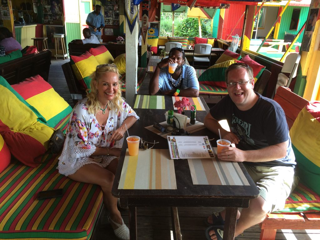 Paul and Alex failing to look busy at Sunshine's bar in Nevis.