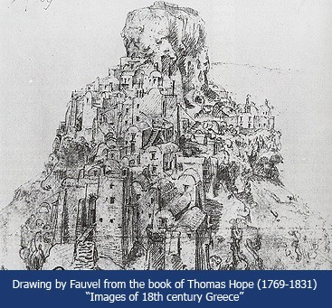 Drawing by Fauvel of Skaros Rock from the book of Thomas Hope
