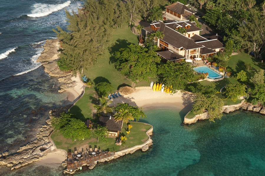 Aerial view of the massive Fortlands Point.  Fortlands Point is one of the most popular villas in Jamaica