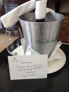 Champagne chills in a bucket of ice at Jumby Bay luxury resort in Antigua
