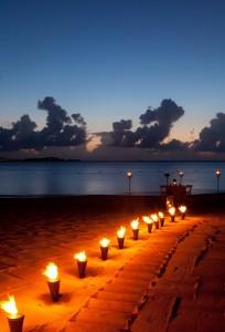 Jumby Bay beach at night