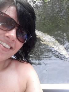 Crocodile photo bombs Emma's Selfie