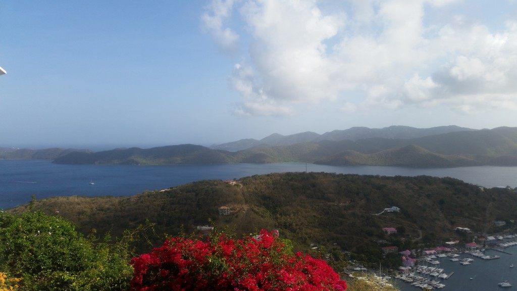 View across the marina at St Bernard's Hill in Tortola