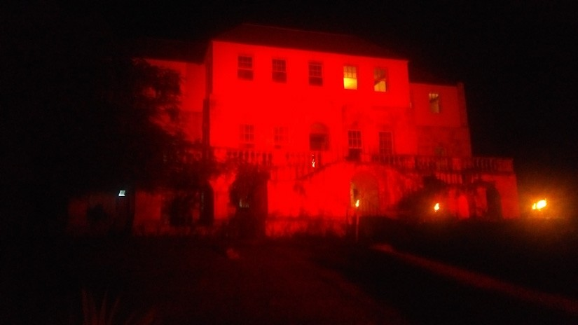 Quite a creepy picture of the haunted Rose Hall Great House in Montego