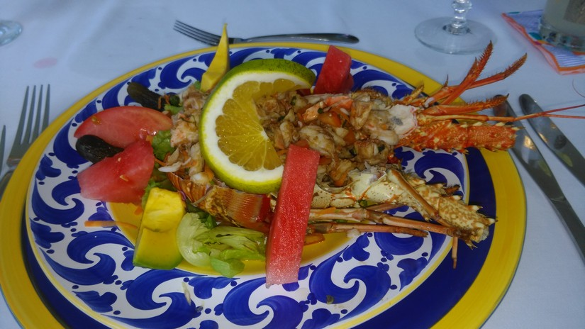 A beautifully colorful lobster lunch at the Jamaican Villa Endless Summer