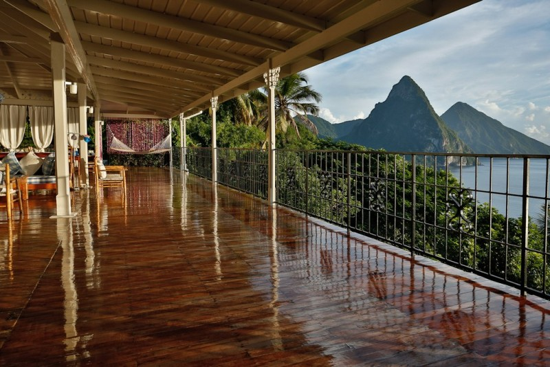 St Lucia Villas - View from La Bagatelle Villa of the Pitons