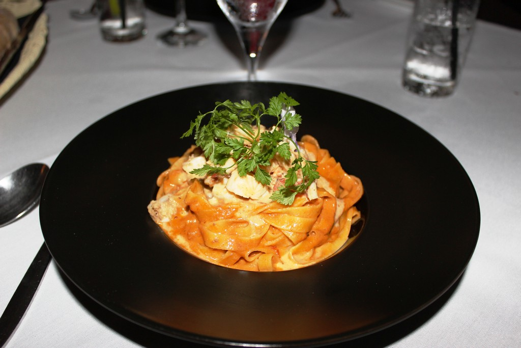 A sumptuous bowl of Lobster Linguini served at Mezza Luna Italian Restaurant in St Martin