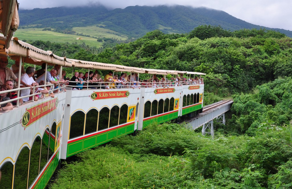 The St Kitts Scenic Railway plunges through the forest exposing the passengers to nature's good stuff