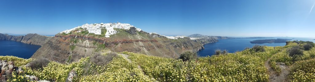 A panoramic view of the caldera at Santorini