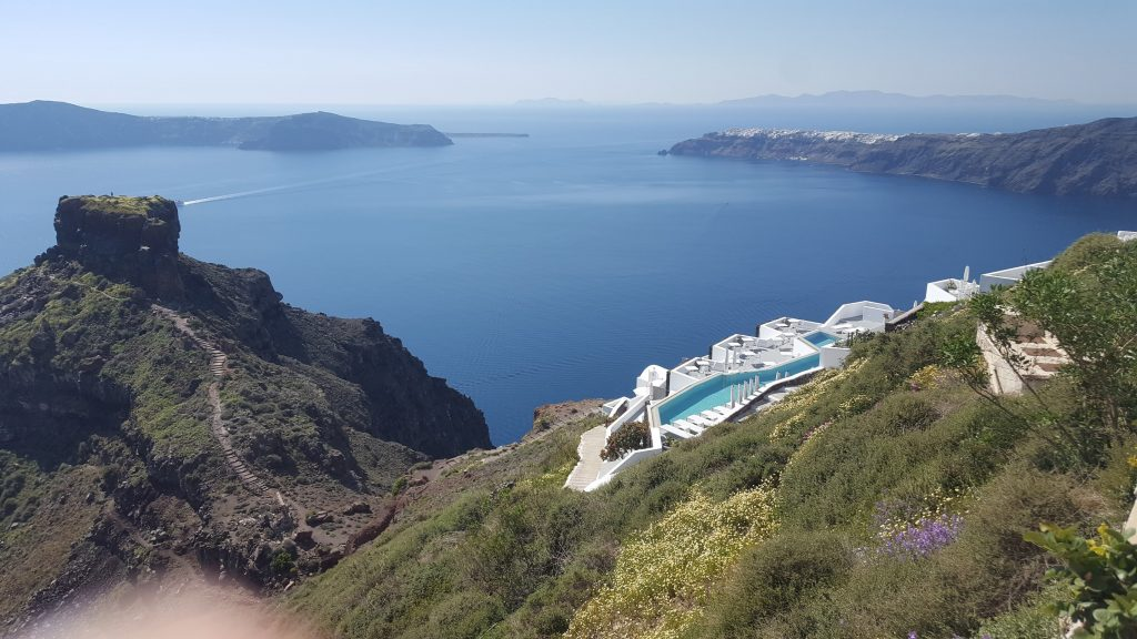 View across the caldera from above Skaros rock in santorini