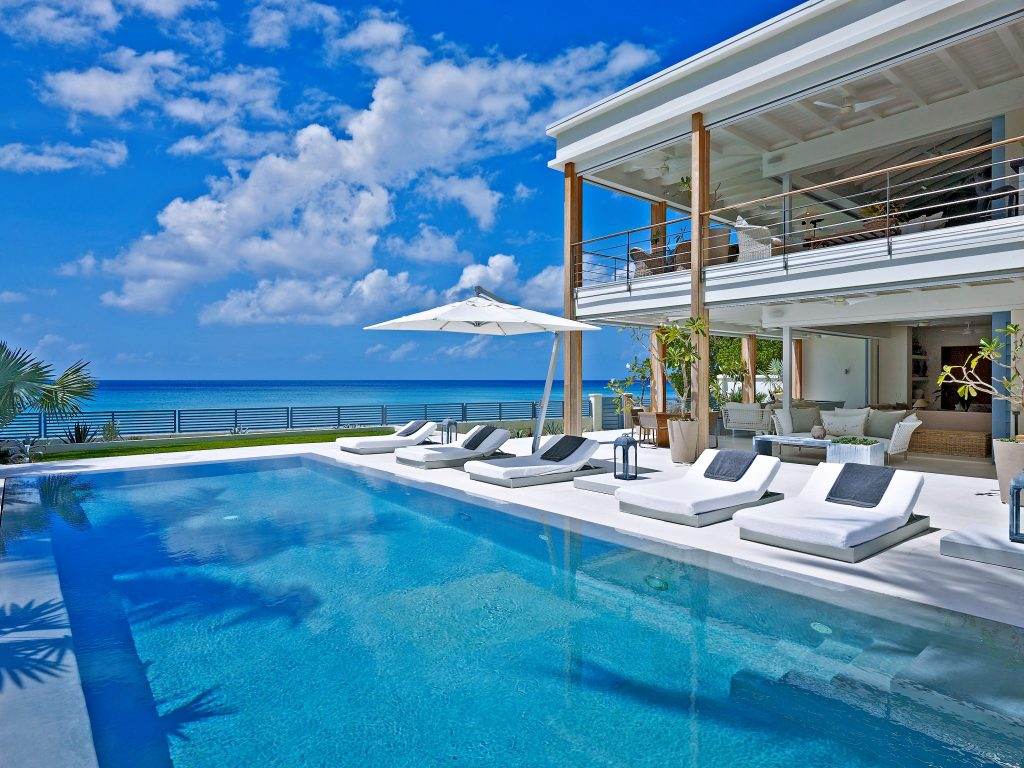 Pool area and sundeck at Barbados luxury villa; the Dream