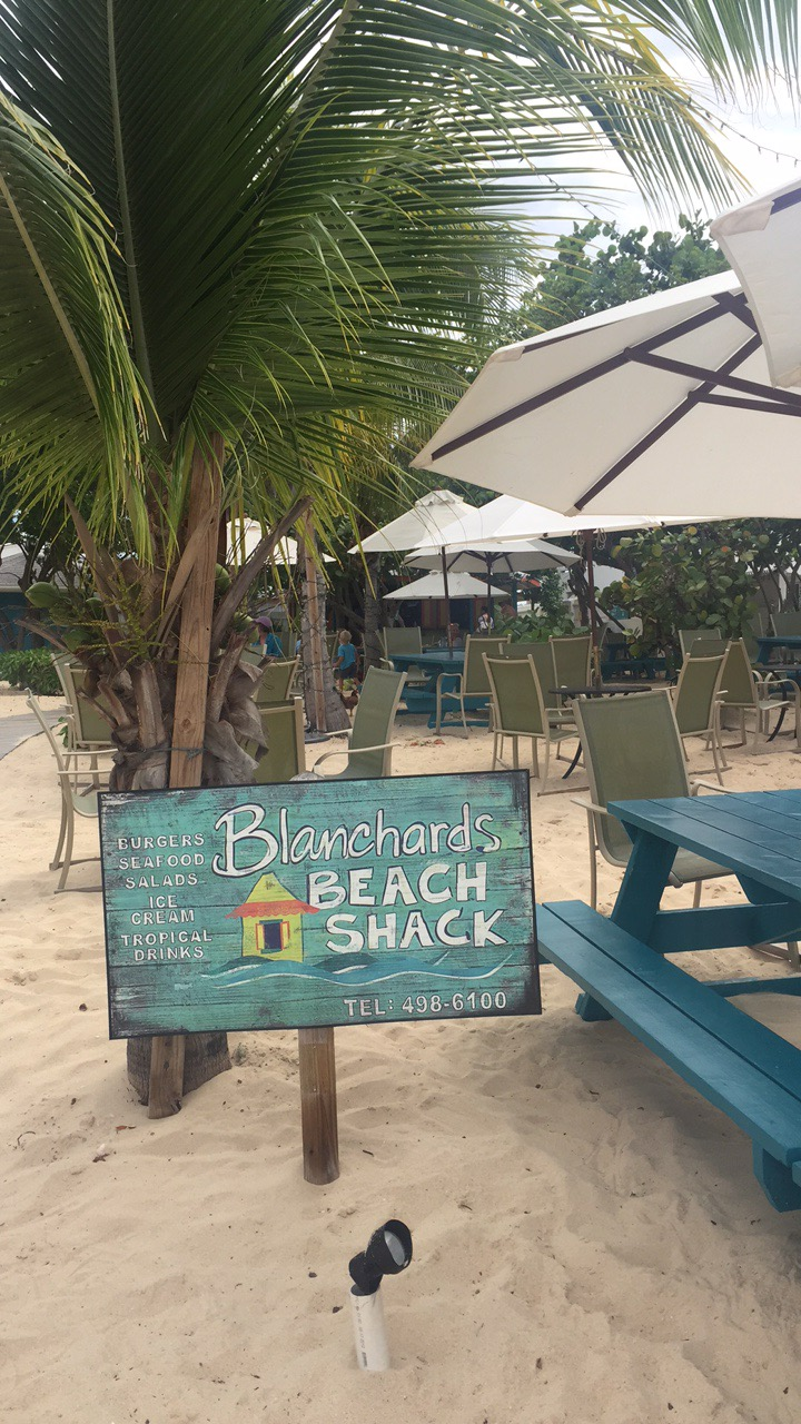Blanchards Beach Shack with its signpost sticking out of the sand.