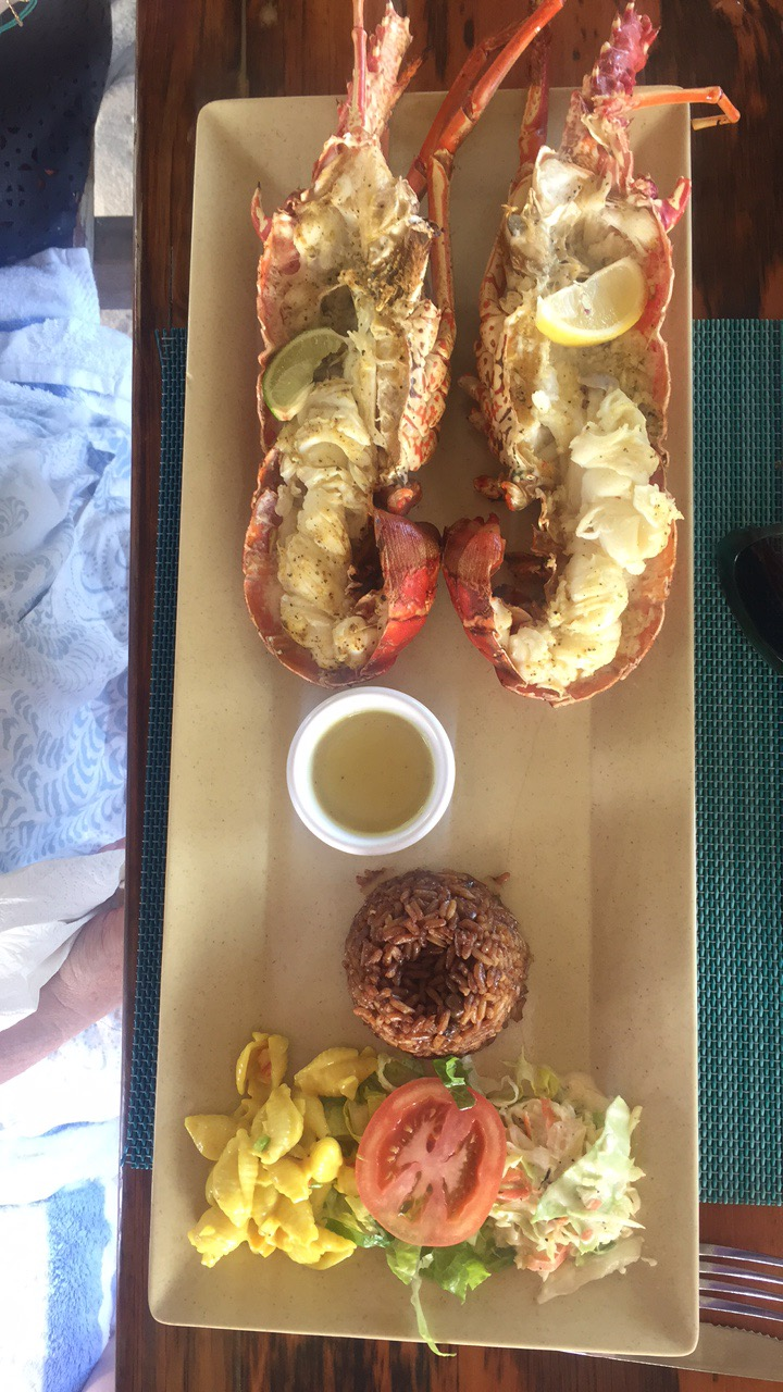 Delicious lobster meal from sandy beach in anguilla