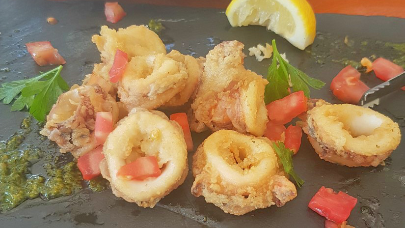 Deep Fried Calamari at Armrya Restaurant at Eagles Palace Greece