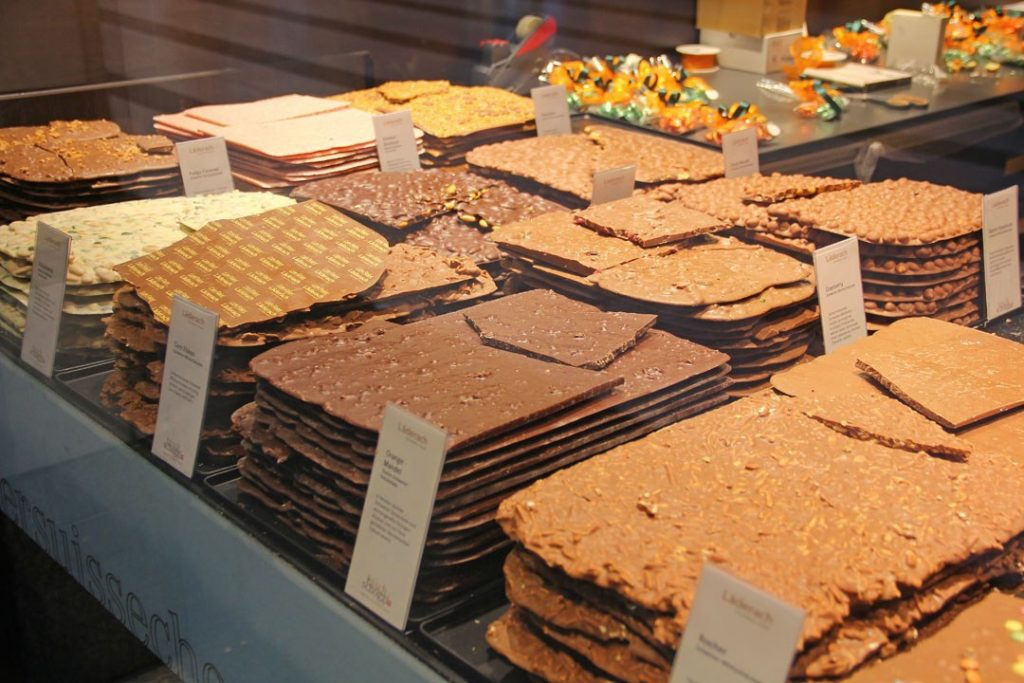 Neat stacks of chocolate at Laderach Chocolate Shop in Zermatt