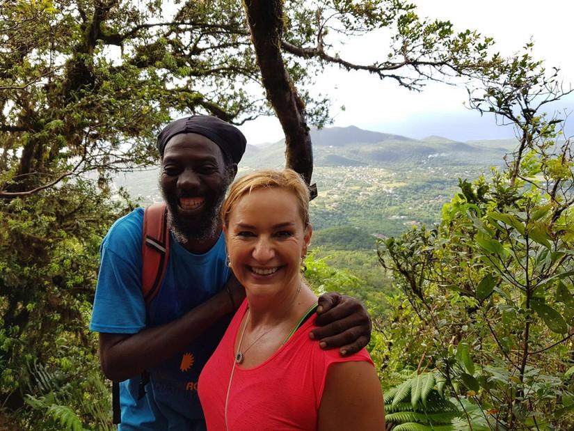Reggie and Alexandra halfway up Nevis peak