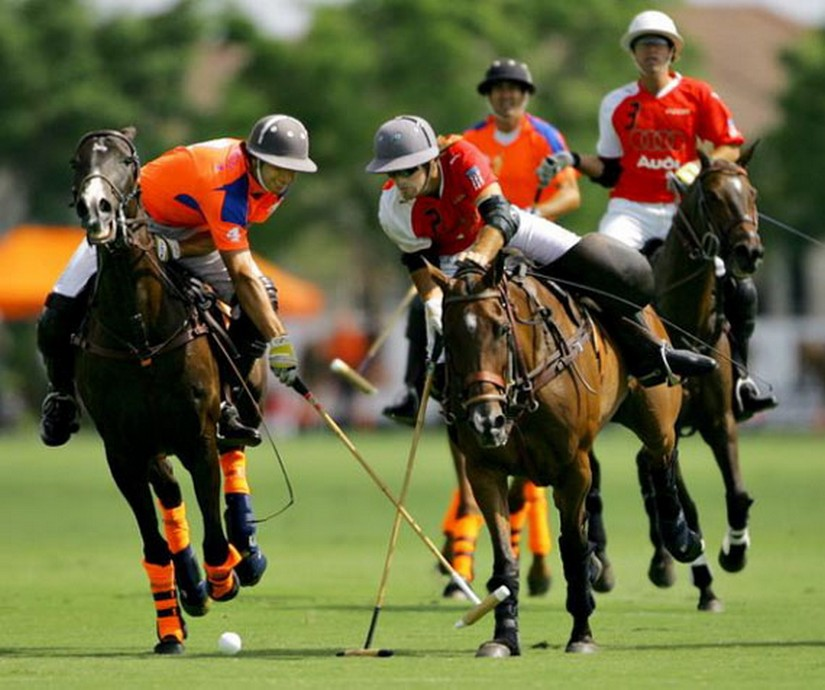 Polo players in Barbados battle it out
