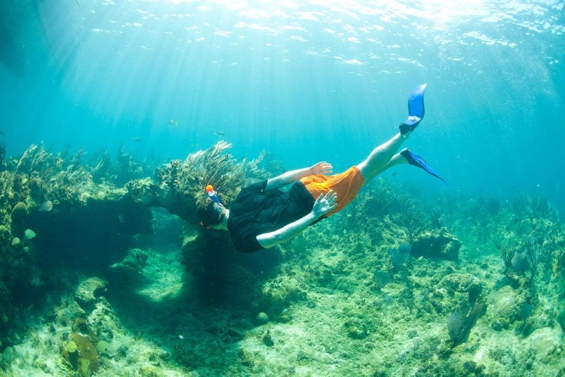 A snorkeler inspects a coral cave while dicing in Turks and Caicos