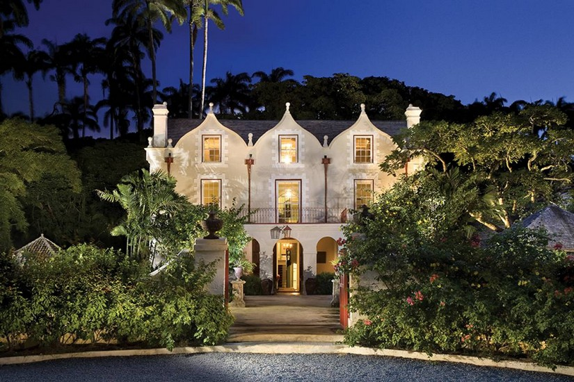 The front of St Nicholas Abbey in Barbados at night