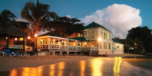 The Fish Pot Restaurant in Barbados seen from the beach