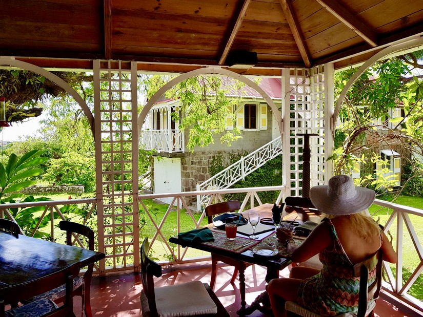 The pagoda at the Hermitage Hotel in Nevis