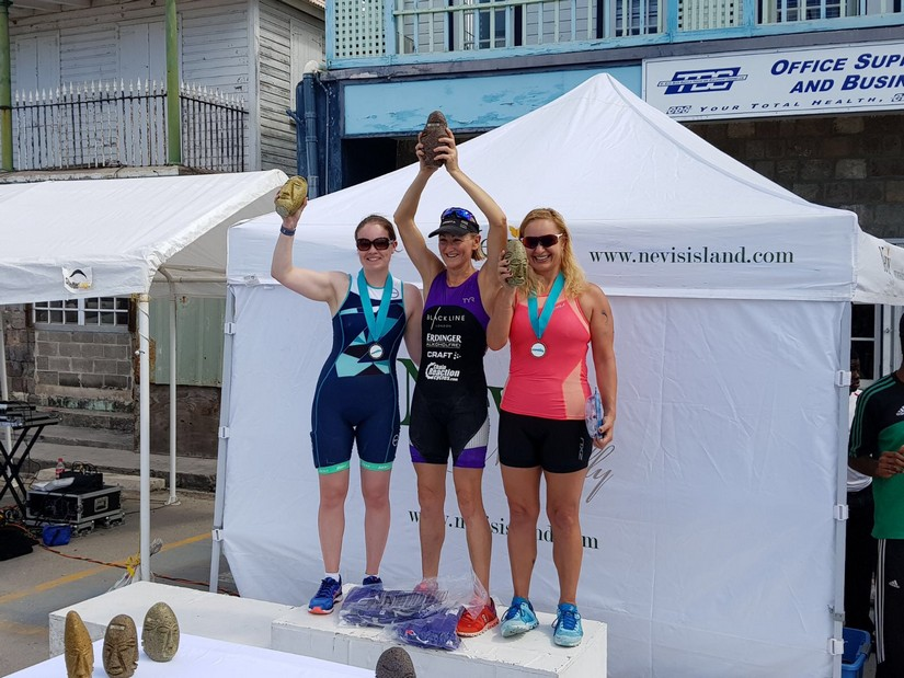 The winners of the Nevis 2017 Triathlon are presented with trophies