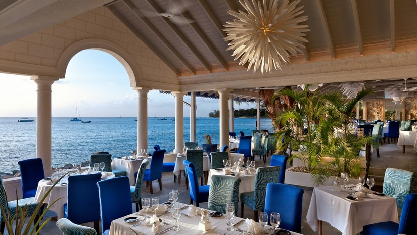 The Tides Restaurant at Barbados overlooks the sea