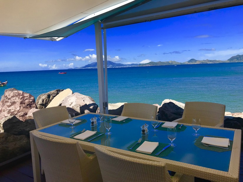 View across to St Kitts from Mango Restaurant
