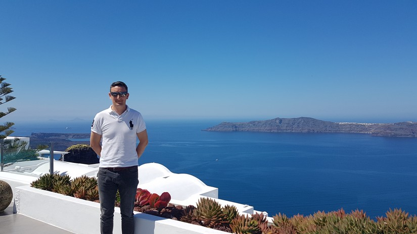 Sean Struggles with his workload inspecting some of the best villas in Santorini