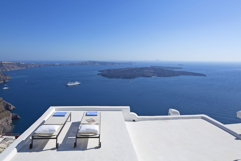 The view from the rooftop sunbeds at Villa Gaia in Santorini
