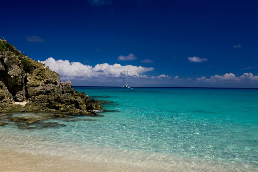 The beautiful beach at Colombier in St Barts