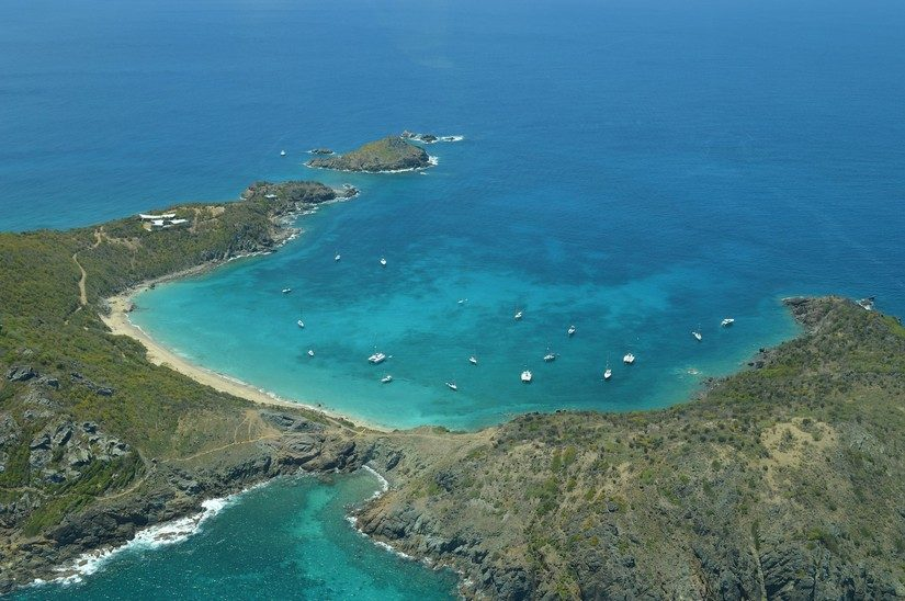 Ariel view of a bay in st Barts
