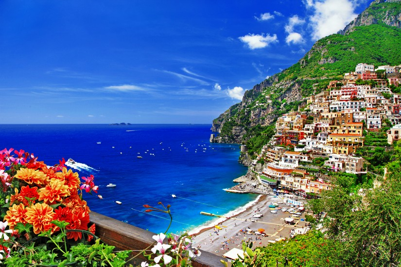 View of the coast at Positano from a high cliff top
