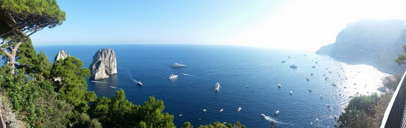Panoramic shot of yachts and cruise ships in the bay at Capri