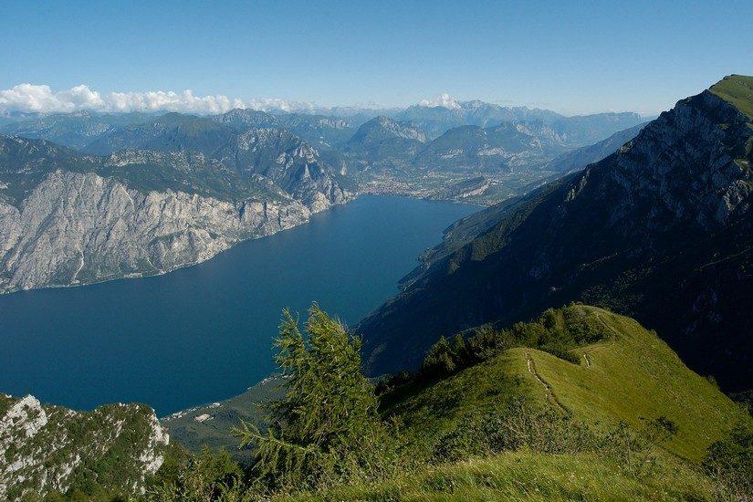 View of Lake Garda taken from a clifftop on the Amalfi Coast