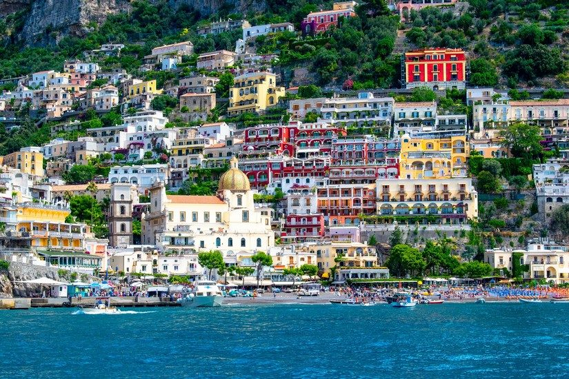 a beautiful view of Positano, one of the most famous places on the Amalfi Coast taken from the water