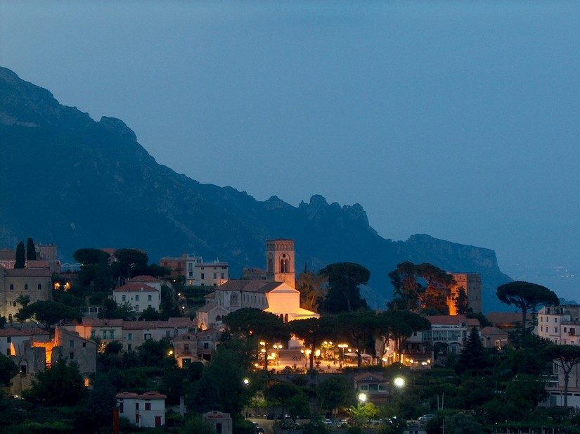 Romantic view of Ravello, another charming place on the Amalfi Coast, in the early evening light