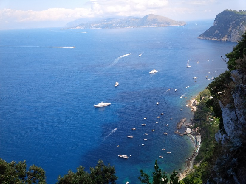 View of cruise ships from a clifftop on the Amalfi coast