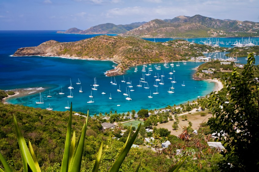English Harbour in Antigua as seen from Shirley Heights