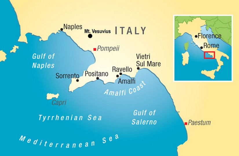 Map of the Amalfi coast and Tyrrhenian Sea