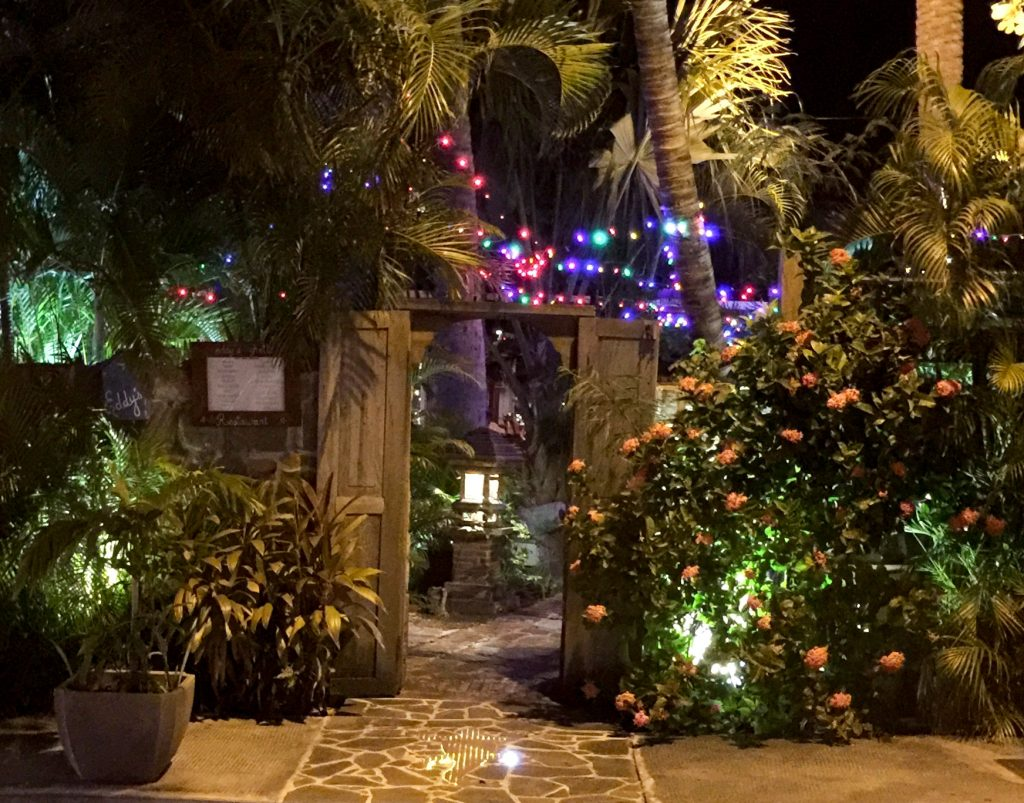 The doorway to Eddy's, one of the coolest St Barths Restaurants, conceals among it's tropical foliage a hidden wonderland of hearty gastro-yum!