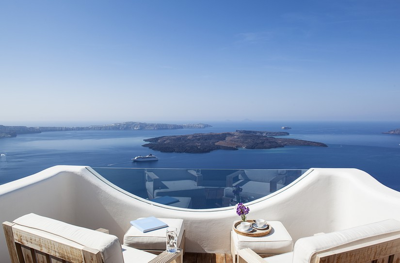 View from the private terrace of Native Eco - one of the 5 best places to stay in Santorini