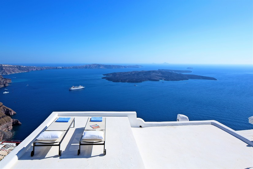 The beautiful view from the sundeck at Villa Gaia - one of the 5 best places to stay in Santorini